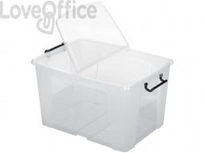 Contenitore con doppio coperchio in ppl 65L Strata riciclabile impilabile trasparente - 2006860110