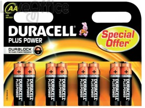 Batterie alcaline Duracell Plus Power Stilo 1500 mAh AA - DU0110 (conf. da 8)