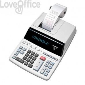 Calcolatrice scrivente professionale con display LCD retroilluminato a 12 cifre Sharp grigia - SH-EL2607PGGYSE
