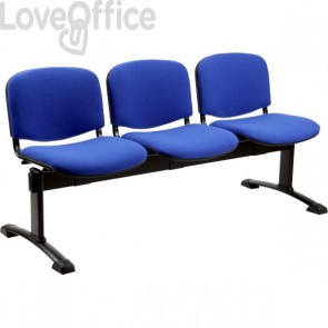 panca 3 posti blu ignifuga modello Agata