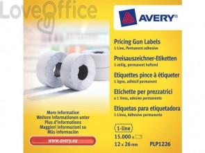 Rotolo 1500 etichette per prezzatrici permanenti AVERY 12 x 26mm PLP1226