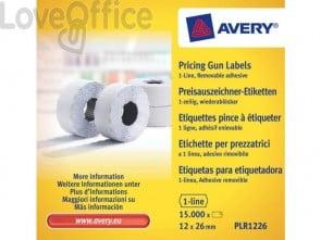 Rotoli etichette per prezzatrici removibili AVERY 12 x 26mm 1 linea - PLR1226 (conf. 10 rotoli da 1500 etichette)