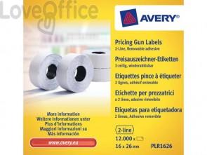 Rotoli etichette per prezzatrici removibili AVERY 16 x 26mm 2 linee - PLR1626 (conf. 10 rotoli da 1200 etichette)