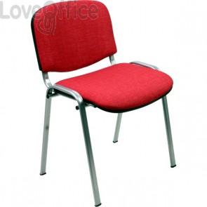 sedia attesa ignifuga di colore rosso con gambe cromate