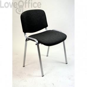 sedia attesa ignifuga di colore nero con gambe grigie