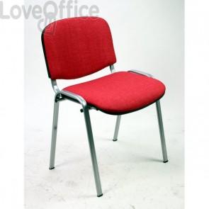sedia attesa ignifuga di colore rosso con gambe grigie