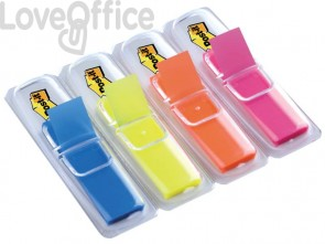 Segnapagina removibili Post-it® Index Mini con dispenser fluo assortiti - 683-HF4EU (conf.4 da 35 fogli)