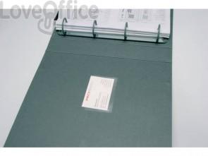 Tasche adesive portabiglietti Q-Connect ppl 5,6x9,3 cm trasparente apertura lato lungo - KF27040 (conf.100)