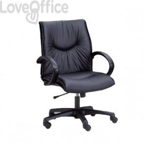 Poltrona da ufficio in eco pelle nera con rotelle FXDO