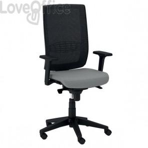 sedia girevole da ufficio in pelle grigia
