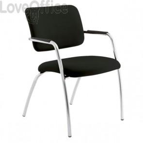 sedia da attesa in pelle nera modello LITHIUM