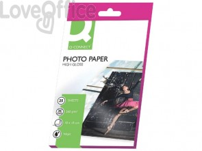 Carta fotografica Inkjet Q-Connect 10x15cm bianco 260 g/m² lucida - KF01906 (conf. da 25 fogli)