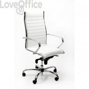 sedia ufficio in pelle bianca di tipo direzionale