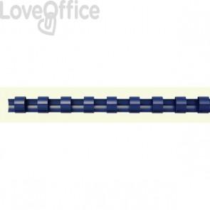Dorsi plastici a 21 anelli Fellowes - 16 mm - 120 fogli - blu - 5347106 (conf.100)