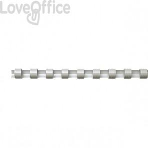 Dorsi plastici a 21 anelli Fellowes - 25 mm - 200 fogli - bianco - 5348204 (conf.50)