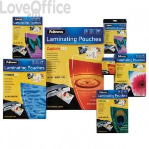 Pouches per plastificatrici Fellowes - 75 micron per lato - A5 - lucida - 5306002 (conf.100)