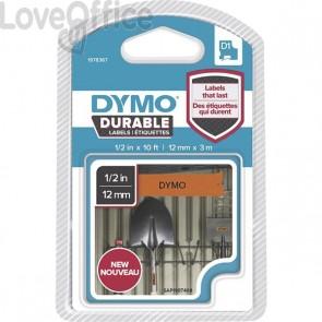 Etichette Dymo D1 Durable - 12 mm x 3 m - nero/arancione