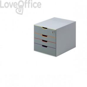 Cassettiera da scrivania con serratura - Durable Varicolor® - 28x35,6x29,2 cm - Esterno grigio/interno multicolore