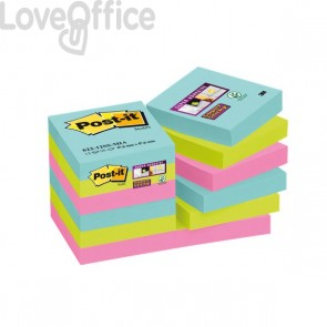 Foglietti Post-it® Super Sticky Miami  - assortiti a tema Miami - 47,6x47,6 mm - 622-12SS-MIA (conf.12)