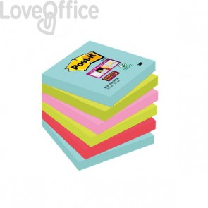 Foglietti Post-it® Super Sticky Miami - assortiti a tema Miami - 76x76 mm - 654-6SS-MIA (conf.6)