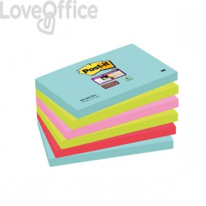 Foglietti Post-it® Super Sticky Miami - assortiti a tema Miami - 76x127 mm - 655-6SS-MIA (conf.6)