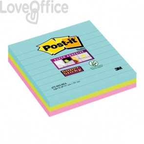 Foglietti Post-it® Super Sticky Formato XL - 101x101 mm - : acqua , verde , rosa  - 675-SS3-MIA (conf.3)