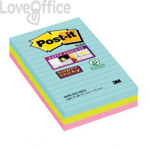Foglietti Post-it® Super Sticky Formato XXL a righe - 101x152 mm -   acqua , verde , rosa - 4690-SS3-MIA (conf.3)