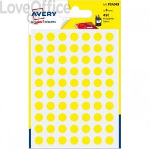 Etichette rotonde in bustina Avery - Giallo - diam. 8 mm - PSA08J (420)