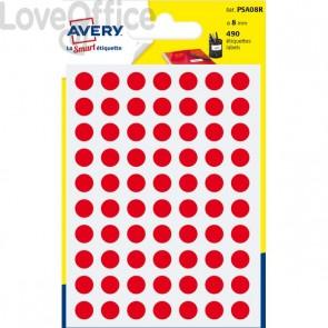 Etichette rotonde in bustina Avery - Rosso - diam. 8 mm - PSA08R (420)