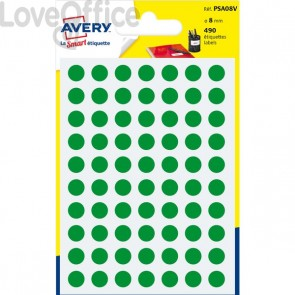Etichette rotonde in bustina Avery - Verde - diam. 8 mm - PSA08V (420)