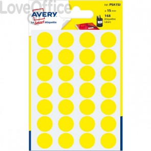Etichette rotonde in bustina Avery - Giallo - diam. 15 mm - PSA15J (168)