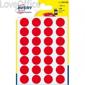 Etichette rotonde in bustina Avery - Rosso - diam. 15 mm - PSA15R (168 etichette)