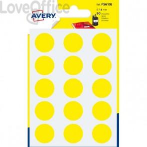 Etichette rotonde in bustina Avery - Gialle - Diam. 19 mm - PSA19J (90)