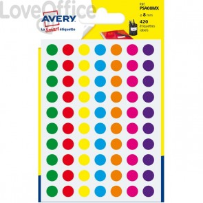 Etichette rotonde in bustina Avery - misti - diam. 8 mm - PSA08MX (420)