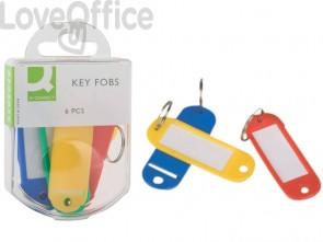 Targhette portachiavi Q-Connect 9x5,8 cm plastica colori assortiti - KF02036 (conf.6)