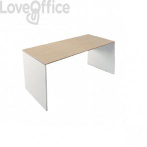 Scrivania ufficio - Linea operativa Witoffice LineKit - top rovere/struttura bianca - 150x70x73 cm