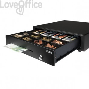Cassetto porta soldi per registratore di cassa Safescan apertura elettrica e con chiave