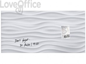 Lavagna magnetica in vetro Artverum SIGEL 910x460x15 mm White Wave RGL260