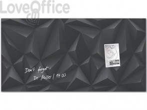 Lavagna magnetica in vetro Artverum SIGEL 910x460x15 mm Black Diamond RGL261