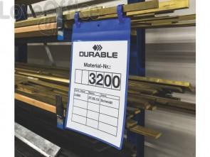 Tasche per identificazione Durable con fascette di aggancio blu f.to esterno mm 223x530- inserto A4 vert. cf. 50- 175007