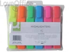Evidenziatori Q-Connect 1,5-2 mm assortiti astuccio da 6 colori - KF01909