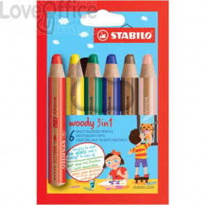 Matite colorate Stabilo Woody 3 in 1 punta larga - colori assortiti astuccio di cartone da 6 pezzi + temperino 8806-2