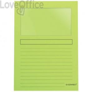 Cartellina con finestra Q-Connect Ordo 22x31 cm cartoncino 120 g/m² verde Conf. 50 pezzi - KF15247