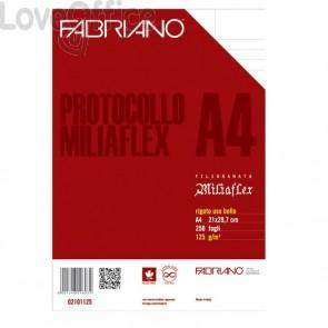 Fabriano Fogli protocollo uso bollo - Miliaflex - filigranati - a righe con margini per stampanti - 125 g/mq (conf.250)