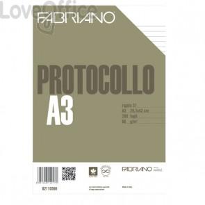 Fogli protocollo a righe Fabriano - 1R - senza margini - 66 g/mq (conf.200)