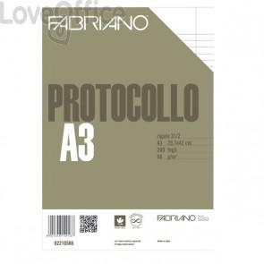 Fogli protocollo a righe Fabriano -1R - con margini - 66 g/mq (conf. 200)