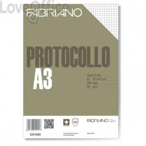 Fogli protocollo a quadretti Fabriano - 5 mm - senza margini - 66 g/mq (conf.200)