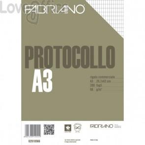 Fogli protocollo a quadretti Fabriano - commerciale - con margini - 66 g/mq (conf. 200)