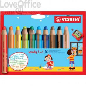 Matite colorate Stabilo Woody 3 in 1 punta larga - colori assortiti astuccio di cartone da 10 pz + temperino 880/10-2