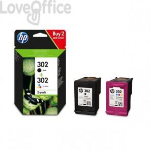 Cartucce inkjet Originale HP 302 - nero+colore - 190+165 pagine - X4D37AE